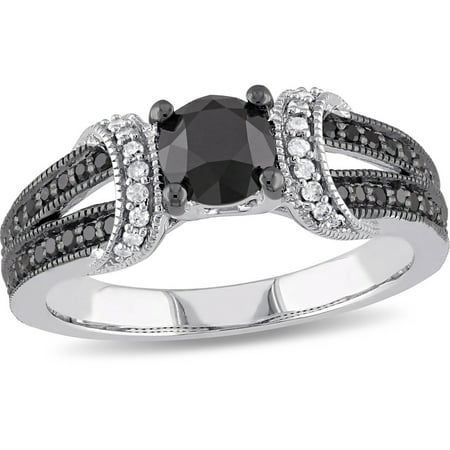 1 Carat T W  Black And White Diamond 10Kt White Gold Engagement Ring