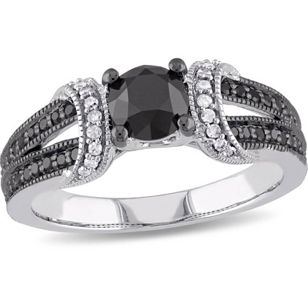 1 Carat T.W. Black and White Diamond 10kt White Gold Engagement