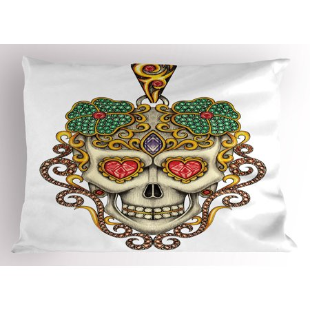 Day Of The Dead Pillow Sham Sugar Skull with Heart Pendants Floral Colorful Design Print, Decorative Standard Size Printed Pillowcase, 26 X 20 Inches, White Ivory and Yellow, by Ambesonne](Dead Hearts Wedding)
