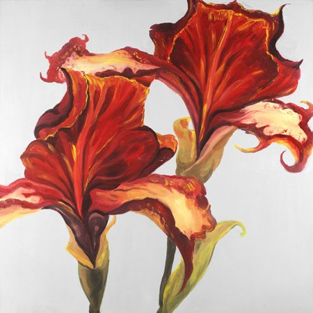 Lilies Oil Painting - Winston Porter 'Lilies with Fall' Oil Painting Print on Wrapped Canvas