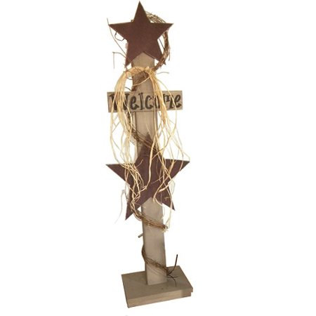 Decorative Sign Posts - Furniture Barn USA™ Primitive Decorative Rustic Star Welcome Sign on Post