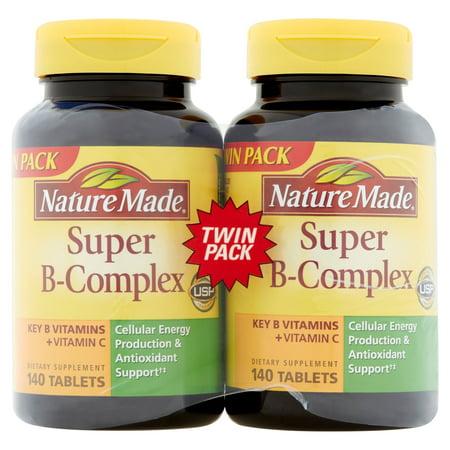Nature Made Super B-Complex clés vitamines B + vitamine C Twin Pack 2 x 140 comprimés