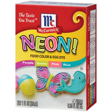 McCormick Neon! Food Color & Egg Dye - 4 CT - Walmart.com