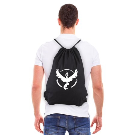 POKEMON TEAM VALOR Eco-Friendly Reusable Canvas Draw String Bag Black &
