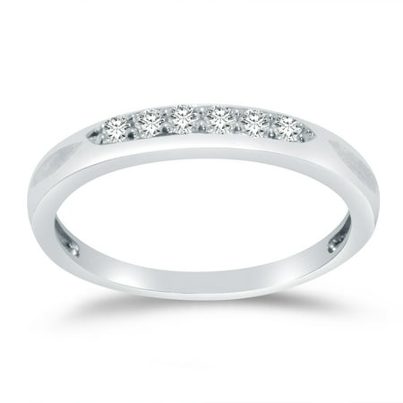 Solid 925 Sterling Silver 3mm Round Cut Six Stone Anniversary Ring Wedding Band CZ Cubic Zirconia 1/2 cttw. , Size