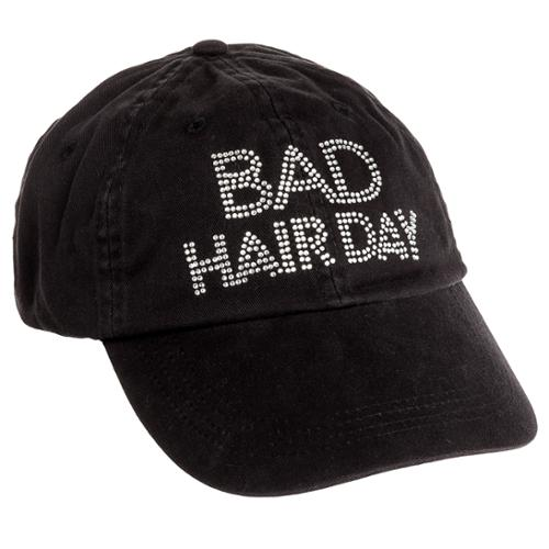 women s black crystal bad hair day adjustable baseball cap