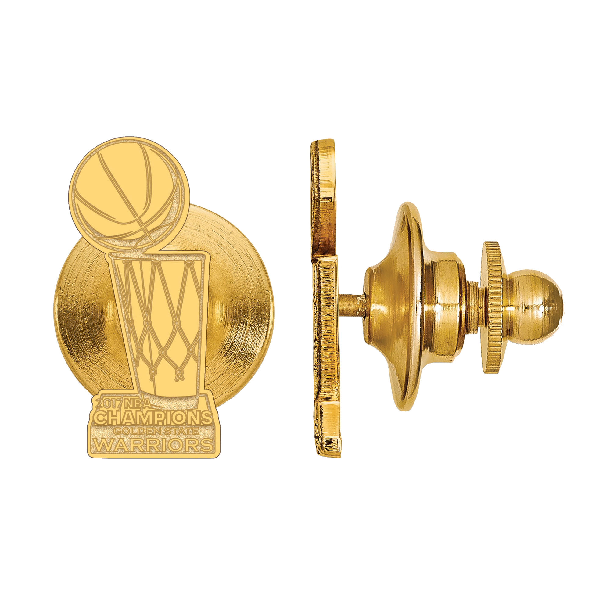Golden State Warriors 2017 NBA Finals Champions Gold-Plated Sterling Silver Tie Tack - No Size