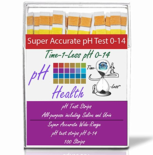 pH Test Strips for Urine and Saliva with 4 testing panels for increased accuracy: pH Dip Sticks (100 Count, Full pH Range from 0 to 14) (Violet)