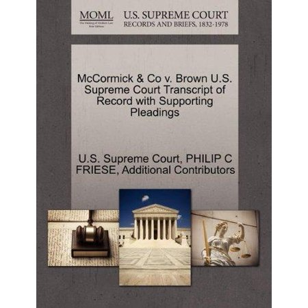 Mccormick   Co V  Brown U S  Supreme Court Transcript Of Record With Supporting Pleadings