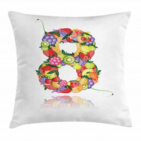 Number Throw Pillow Cushion Cover, Fruitful Eight with Avocado Lemon Watermelon Grapes Flower Cherry Orange Colorful, Decorative Square Accent Pillow Case, 16 X 16 Inches, Multicolor, by Ambesonne ()