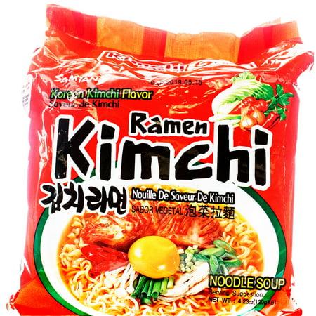 (5 Packs) Samyang Spicy Hot Kimchi Flavor Instant Ramen, 4.23 oz