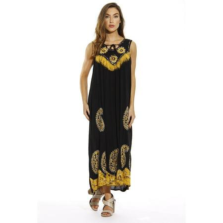 ccaa143ef31 Paisley Batik Long Dress (Black / Gold, X-large)
