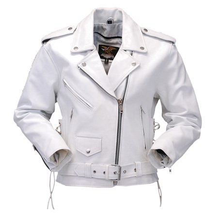White Leather Motorcycle Jacket with Side Lace -
