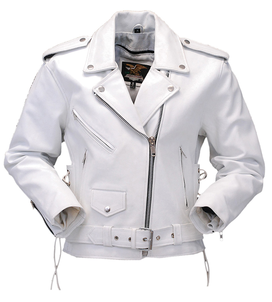 White Leather Motorcycle Jacket with Side Lace #L6027LW