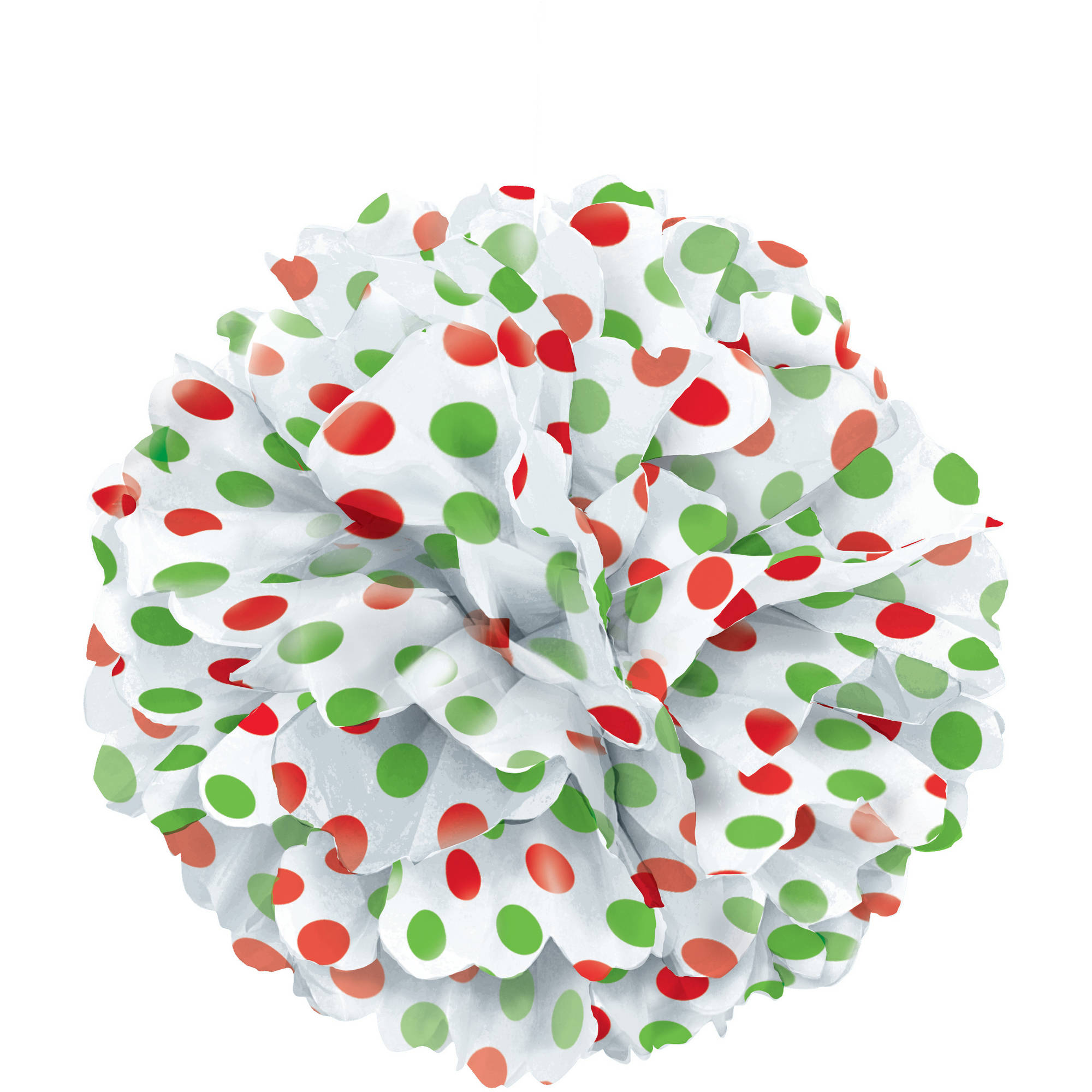 "14"" Red & Green Polka Dot Christmas Tissue Paper Pom Pom"