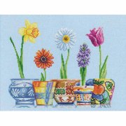 "RTO Flower Pots Counted Cross-Stitch Kit, 13-3/4"" x 11"", 14 Count"
