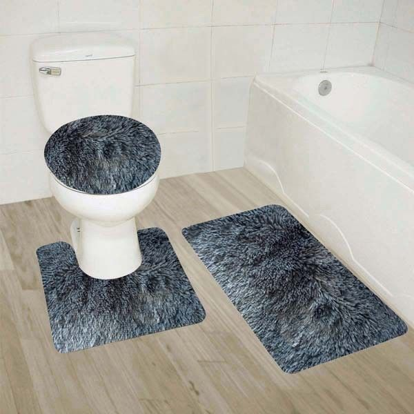 """#9  Charcoal 3-Piece Shiny Soft Plush Bathroom Mat Set, Plain Shaggy Large Rug 20""""x 30"""", Contour Mat 19""""x19"""", and Toilet Lid Cover 19""""x19"""" with Rubber Backing"""