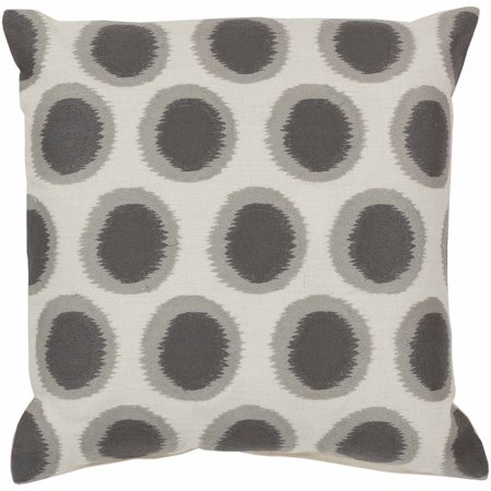 Art of Knot Amory Hand Crafted Satin Embroidery Circles Linen Decorative Pillow with Poly Filler, Slate