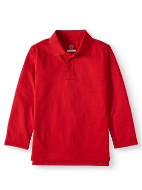 Wonder Nation Boys 4-18 School Uniform Long Sleeve Performance Polo Shirt