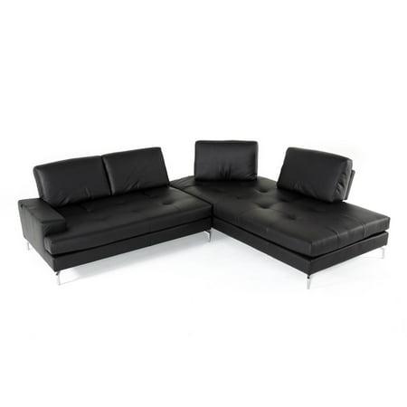 Vig Furniture Estro Salotti Voyager Black Genuine Leather Sectional