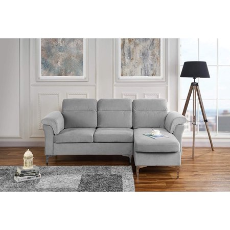 Modern Velvet Fabric Sectional Sofa - Small Space Couch (Light Grey)
