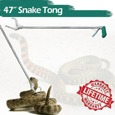 iClover 47 Inch Professional Collapsible Snake Tong Reptile Catcher Wide Jaw Handling Tool with Good Grip Handle Snake