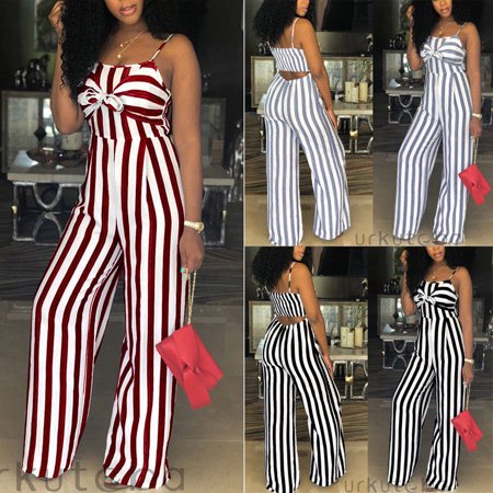 Women Ladies Striped Clubwear Playsuit Bodycon Party Jumpsuit Romper - Zip Playsuit