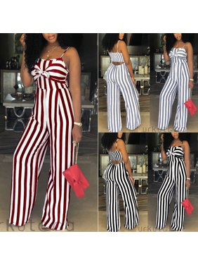 Product Image Women Ladies Striped Clubwear Playsuit Bodycon Party Jumpsuit  Romper Trousers b3f30c82ac10