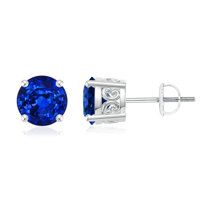 Angara Screwback Blue Sapphire Stud Earrings in Platinum YRuVnWW