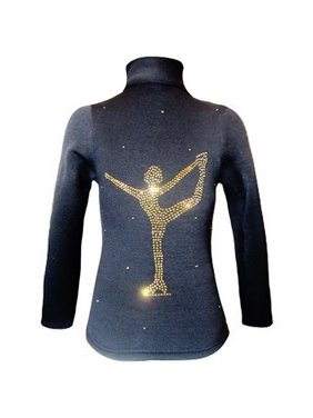Ice Fire Skate Wear Black Gold Chinese Spiral Crystal Jacket Girl 4-20