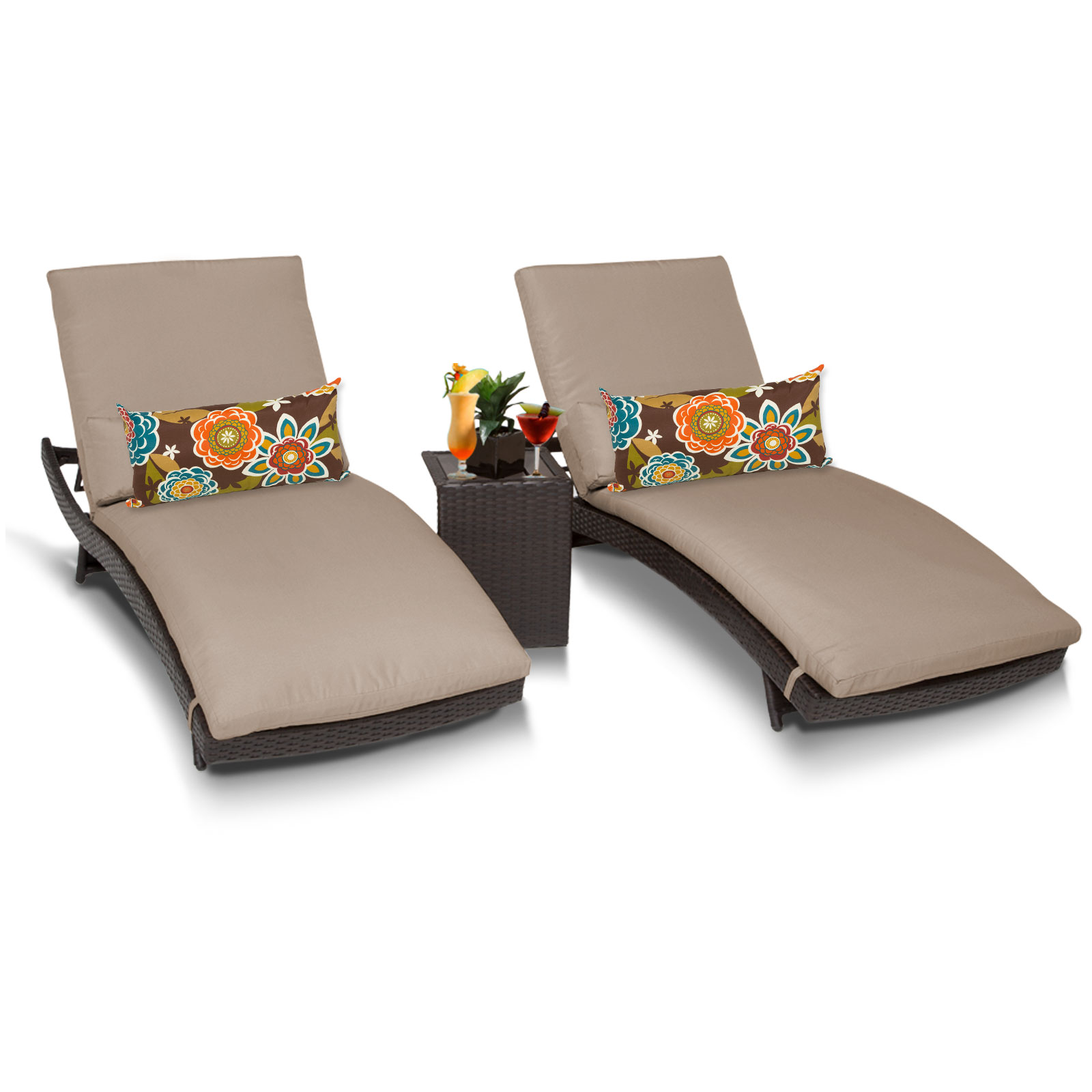 tahiti chaise set of 2 outdoor wicker patio furniture with side table