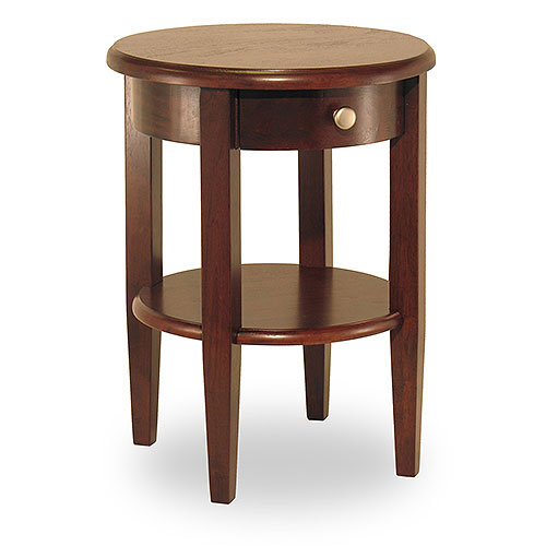 Concord Round End Table, Antique Walnut by Winsome