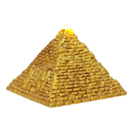 Small Hanging Pyramid Top (Ebros Small Golden Ancient Egyptian Giza Golden Pyramid Figurine with LED Night Light 3.25