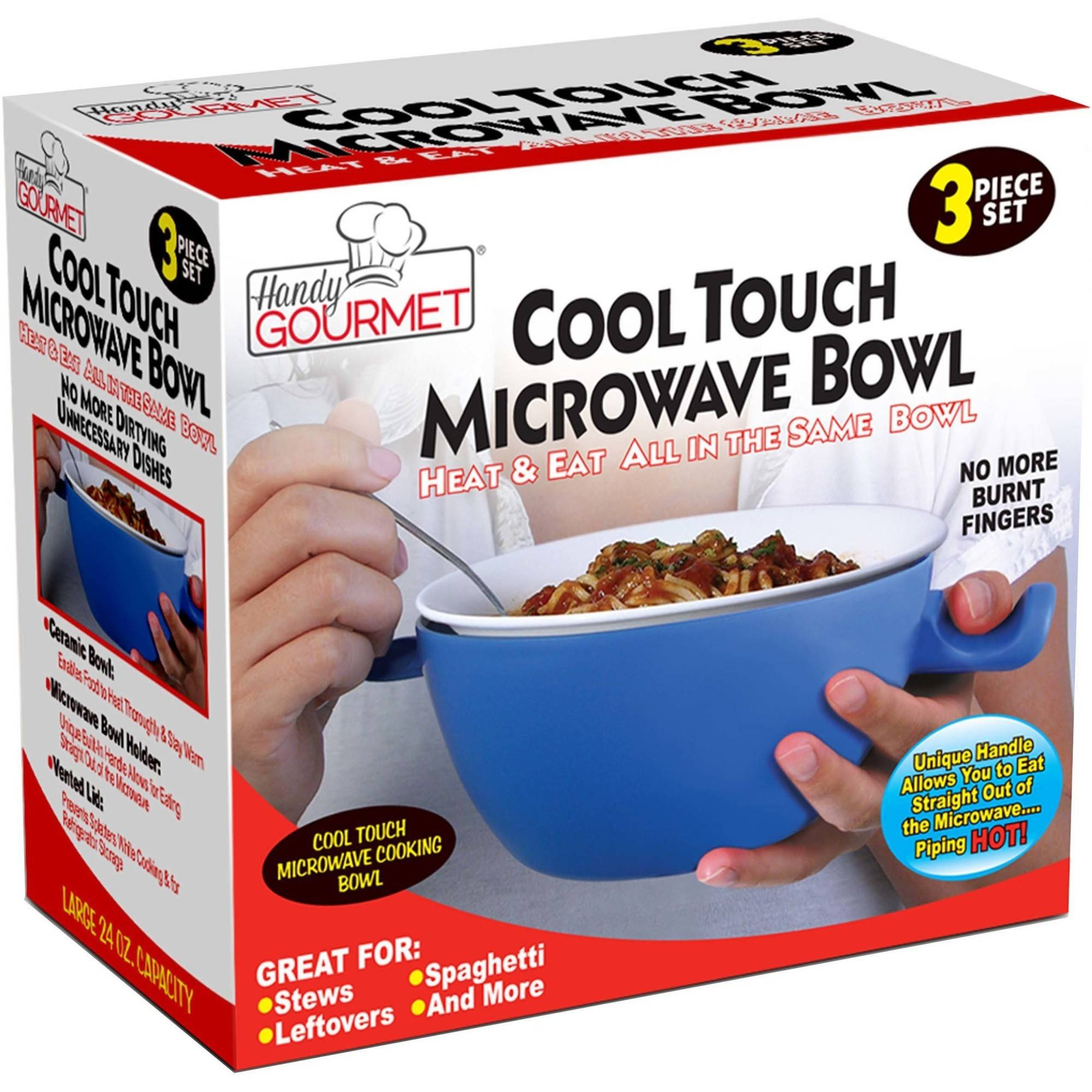 Handy Gourmet Jb5655 Cool Touch Micro Bowl, White and Blue