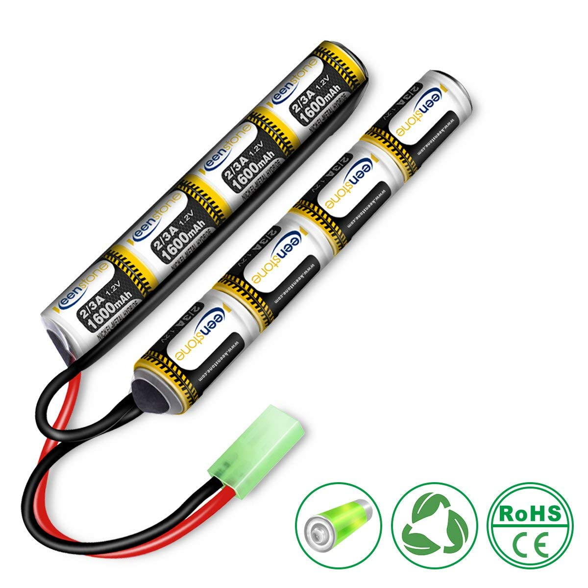 End-of-year Cleanrance! 9.6V 1600mAh NiMH Butterfly Nunchuck Mini Battery Pack with Mini Tamiya Female Connector for Airsoft Guns