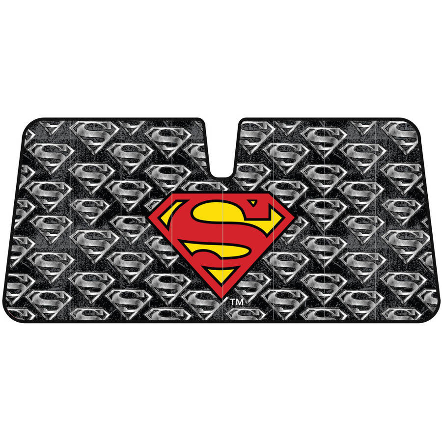BDK Warner Bros Superman Sunshade, Folding Accordion with Static Cling Sun Shade