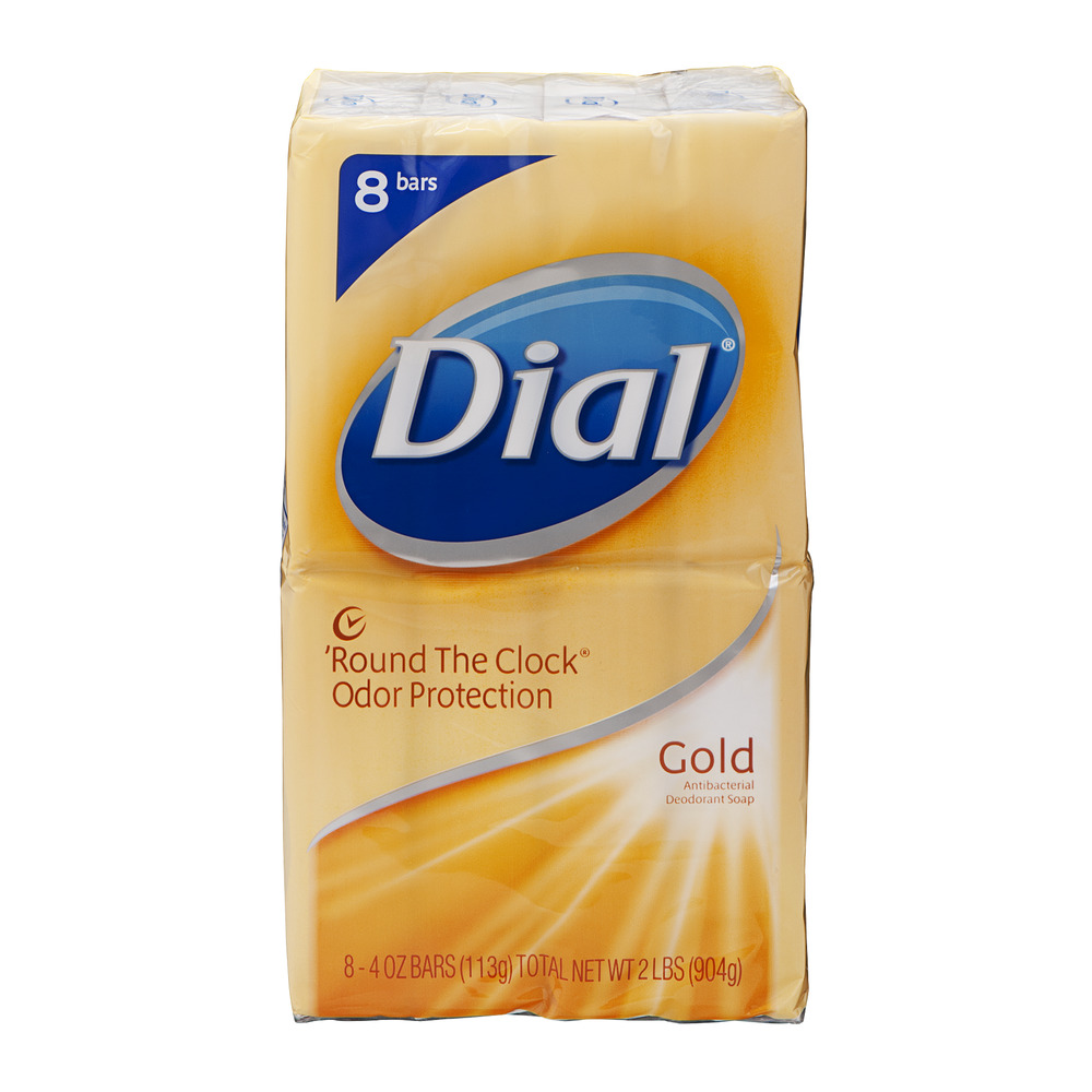 Dial 'Round The Clock Odor Protection Antibacterial Deodorant Soap Bars Gold - 8 CT