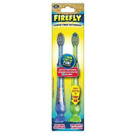 Kids Toothbrush Timer (Firefly LightUp Timer Toothbrush with Suction Cup 2 ea (color may vary) (Pack of 2) )