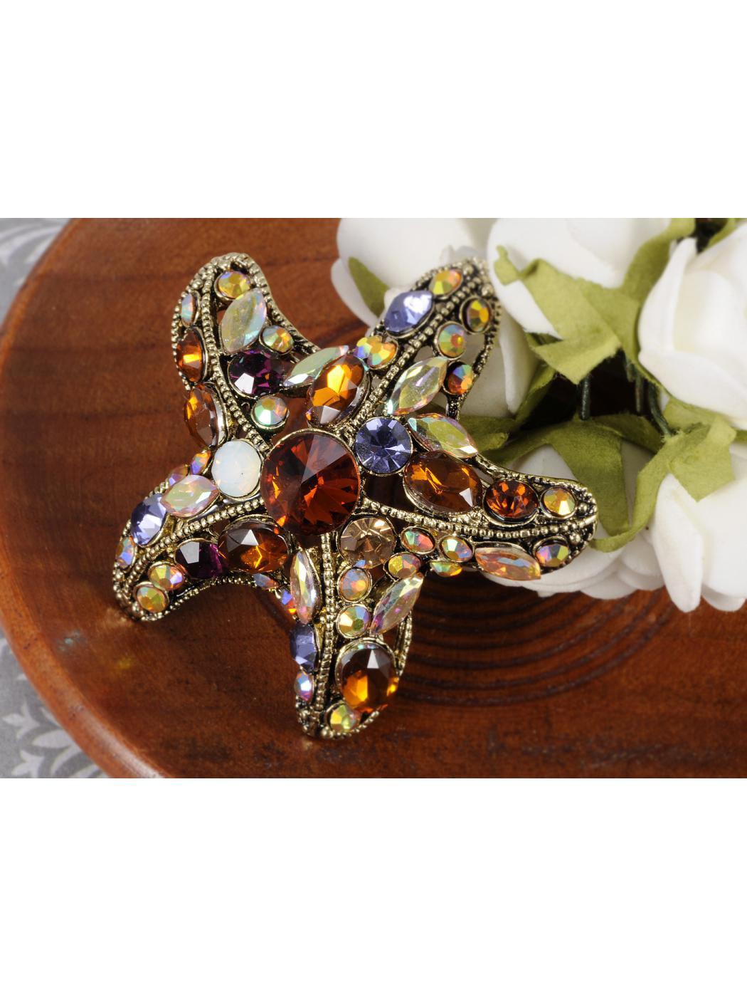 Colorful Crystal Rhinestone Gold Tone Ocean Sea Starfish Star Shape Pin Brooch by