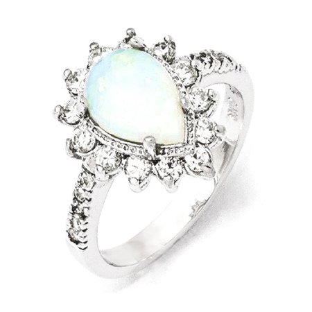 925 Sterling Silver Cubic Zirconia Cz Lab Created Opal Pear Shaped Band Ring Size 8.00 Stone Fine Jewelry For Women Gift
