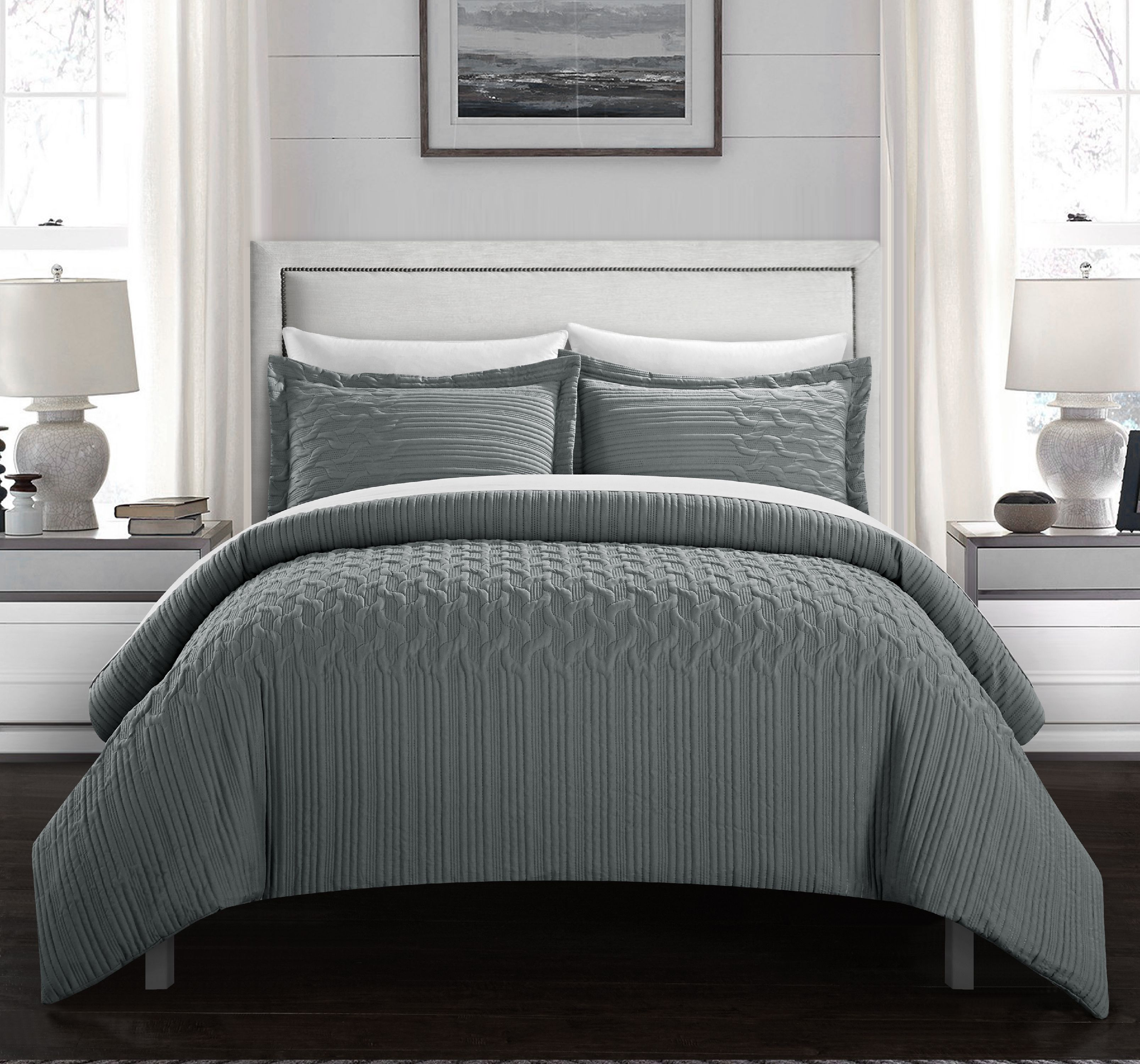 Chic Home Jas 2 Piece Comforter Set Embossed Vine Pattern Bedding