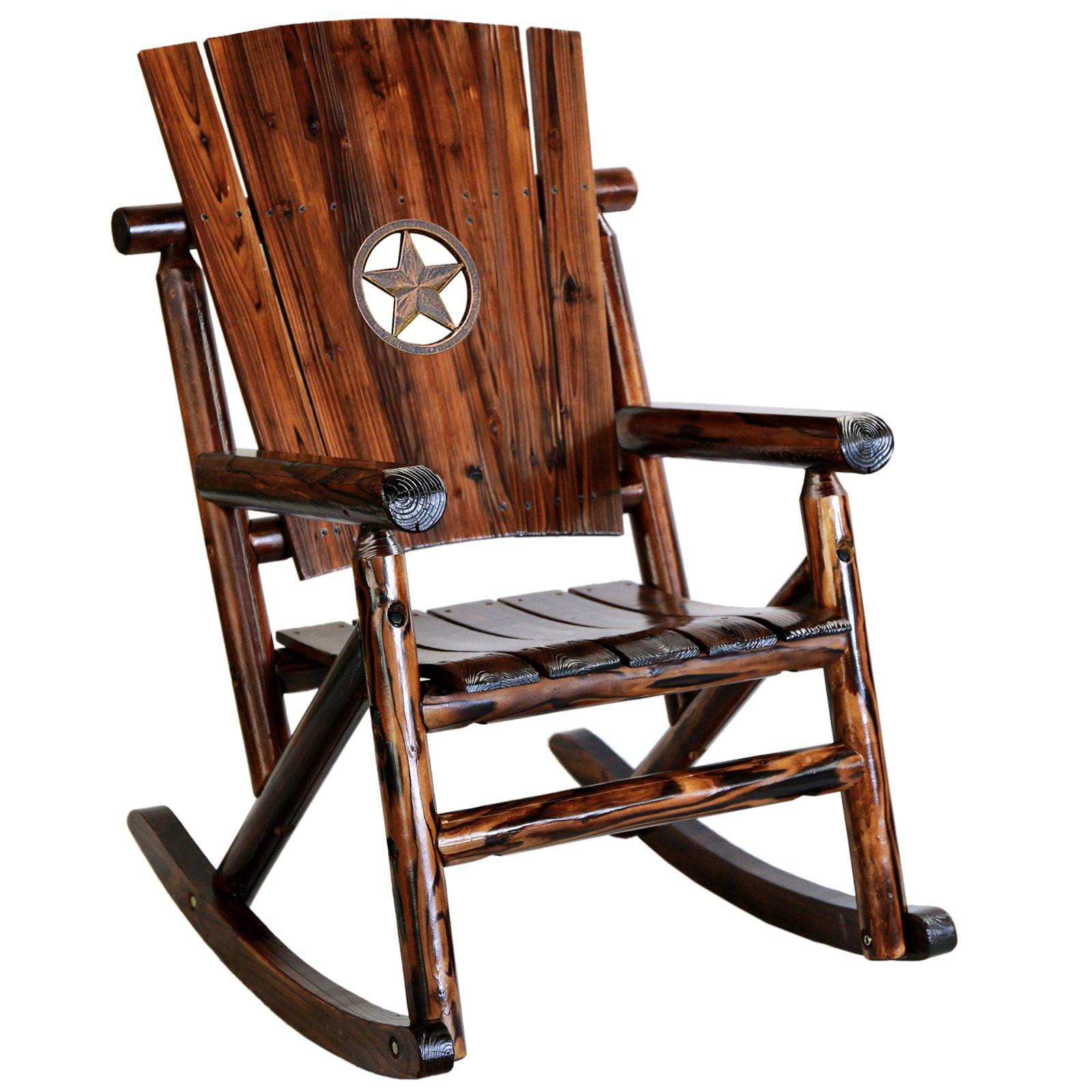 Leigh Country Char-log Star Medallion Porch Rocker Chair