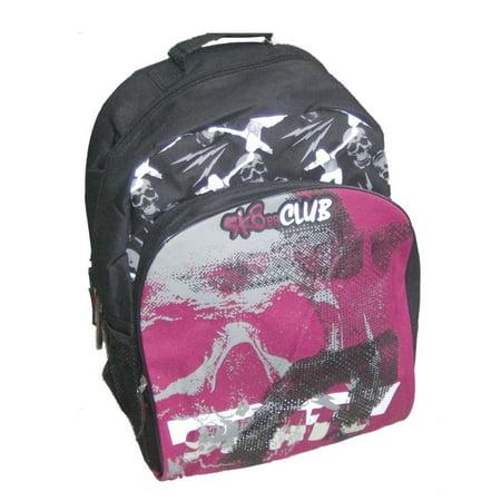SK8er Club Black Red Geometric Skater Backpack Sport School Travel Back Pack