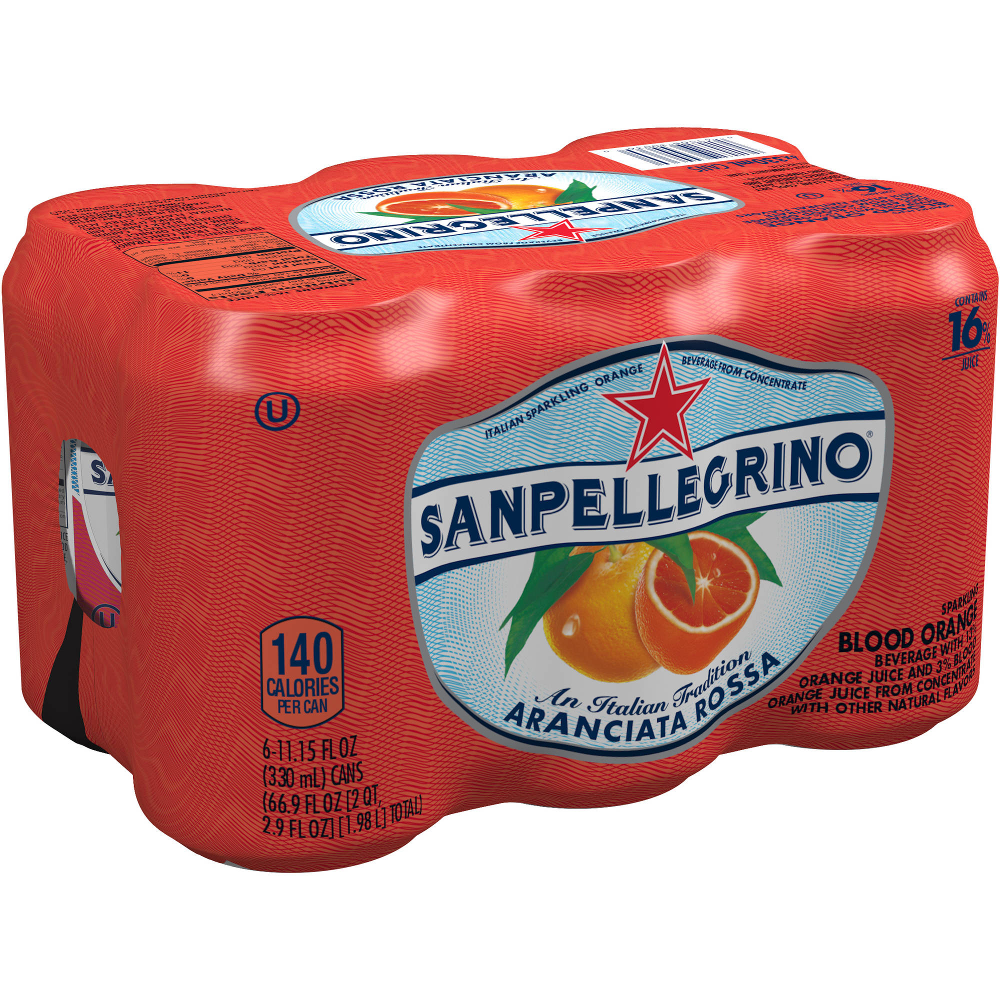 San Pellegrino Aranciata Rossa Blood Orange Sparkling Fruit Beverage, 11.15 fl oz, 6 pack