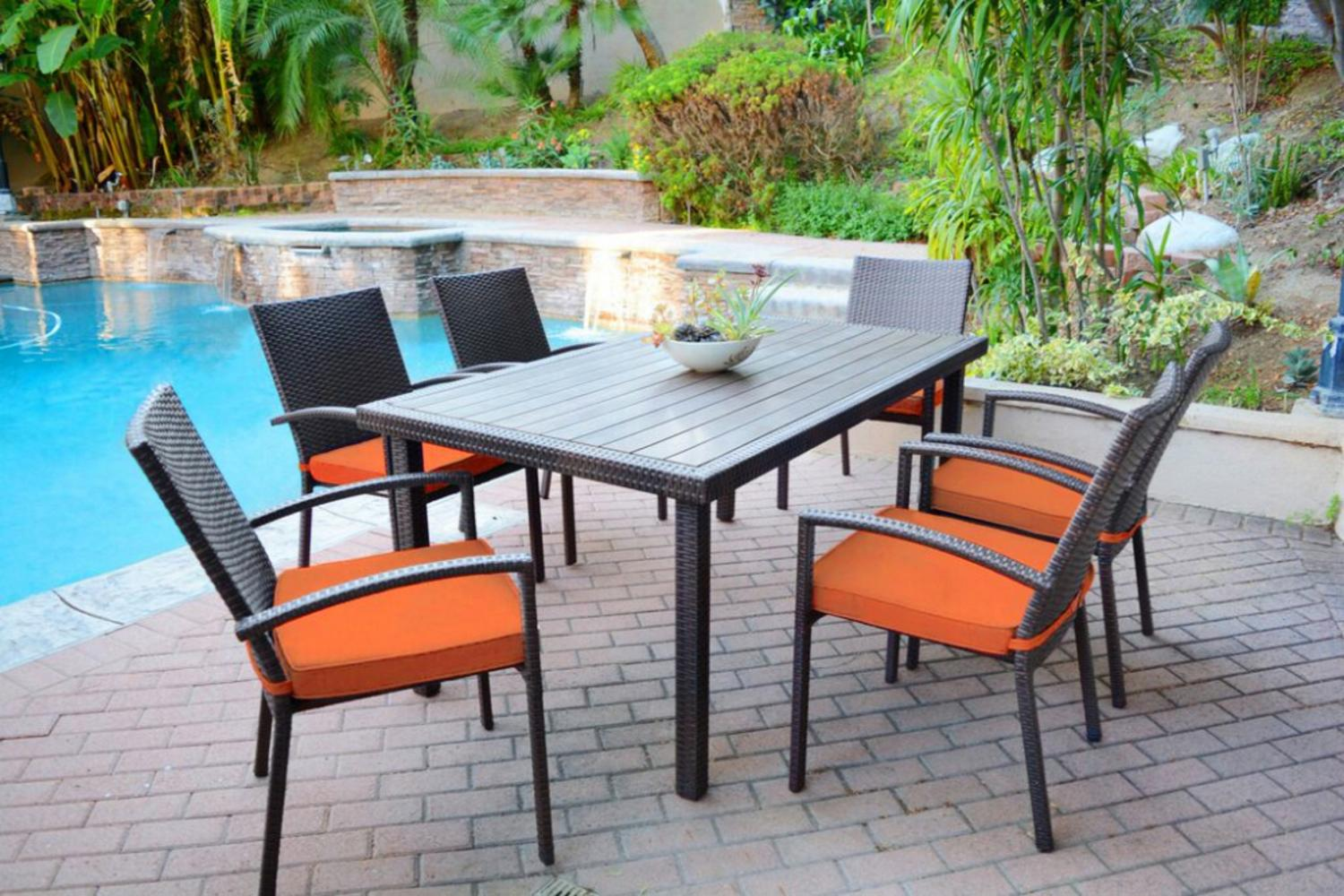 7-Piece Espresso Resin Wicker Outdoor Table and Chairs Furniture Set Orange Cushions by CC Outdoor Living