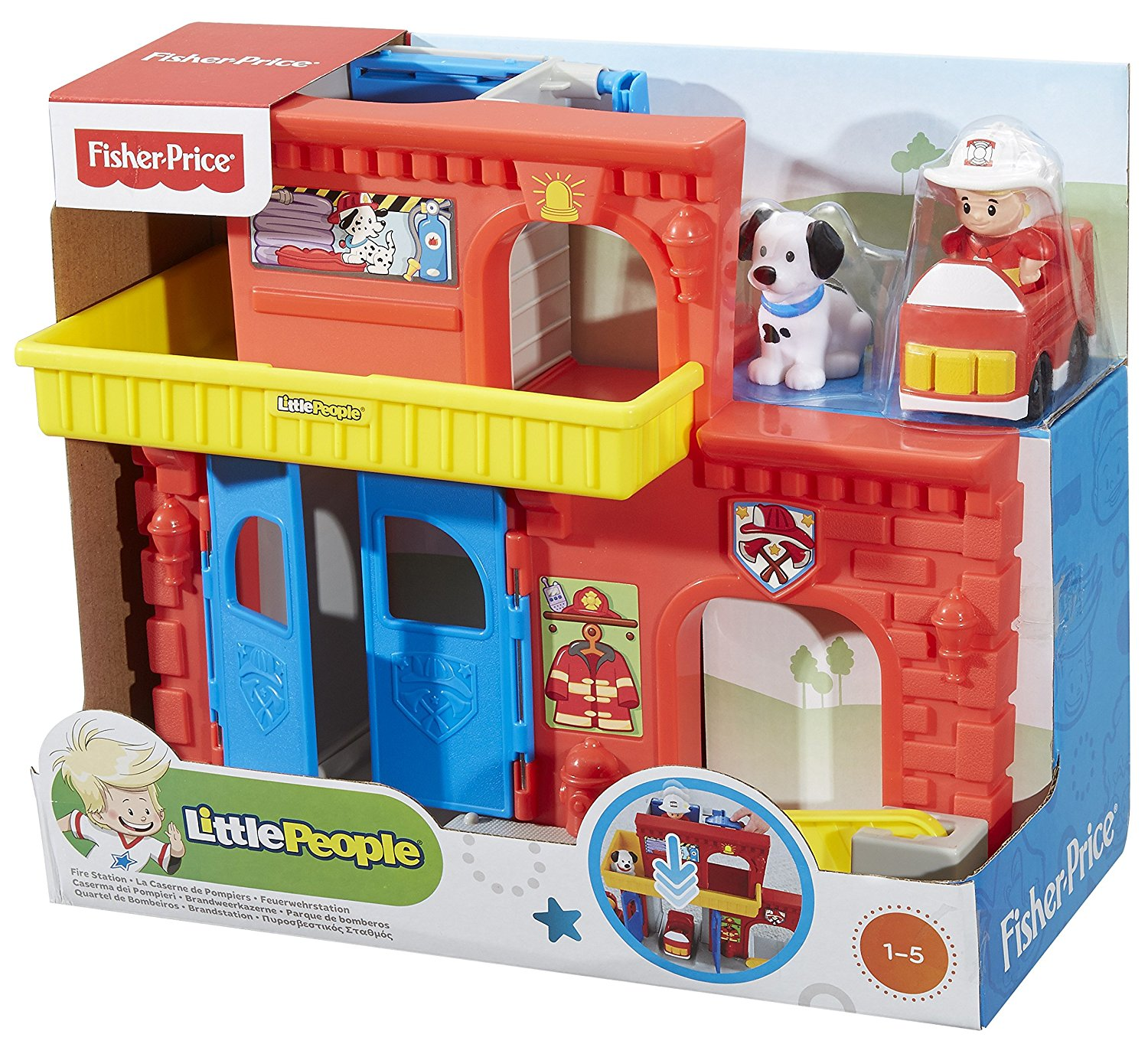Fisher-Price Little People Wheelies Fire Station, Turn ha...