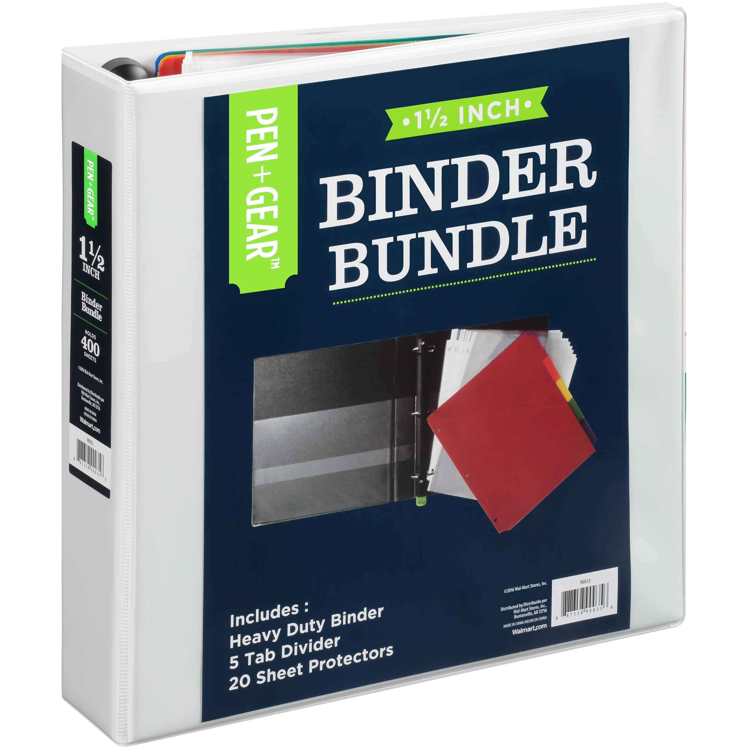 "PEN + GEAR 1.5"" View Binder Bundle 3-Ring Slant-Ring, White"