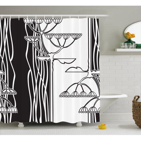 Black And White Shower Curtain Abstract Fennel Plants With Seeds