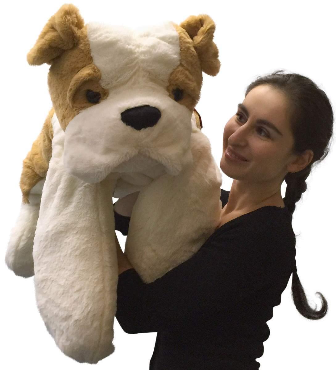 Big Stuffed Bulldog 30 Inches Large Soft Big Plush Dog New Walmart Com