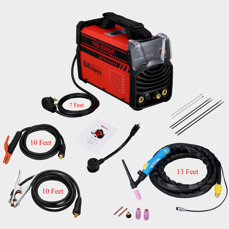 TIG-220DC, 220 Amp TIG Torch Stick Arc DC Welder 120/240V Dual Voltage Welding Machine